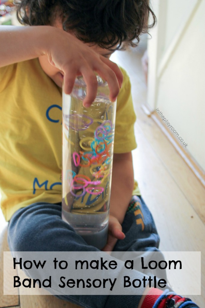 How to make a sensory bottle with loom bands. These are so easy and quick to make, and fun to play with afterwards. The effect of the colourful loom bands moving around is so calming and relaxing