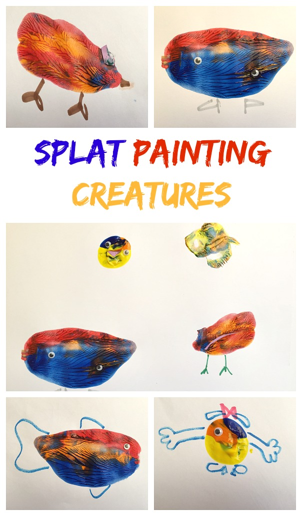 splat painting creatures collage