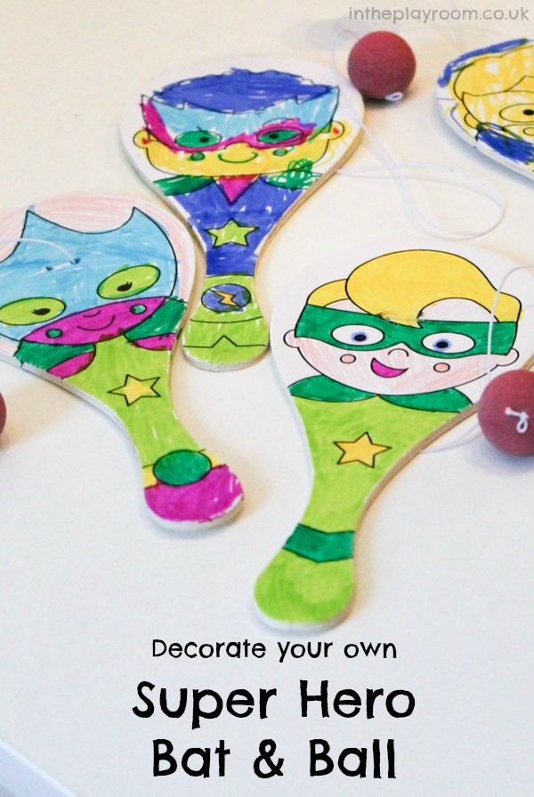 decorate your own super hero bat and ball. Perfect craft activity to make and take home from a super hero birthday party