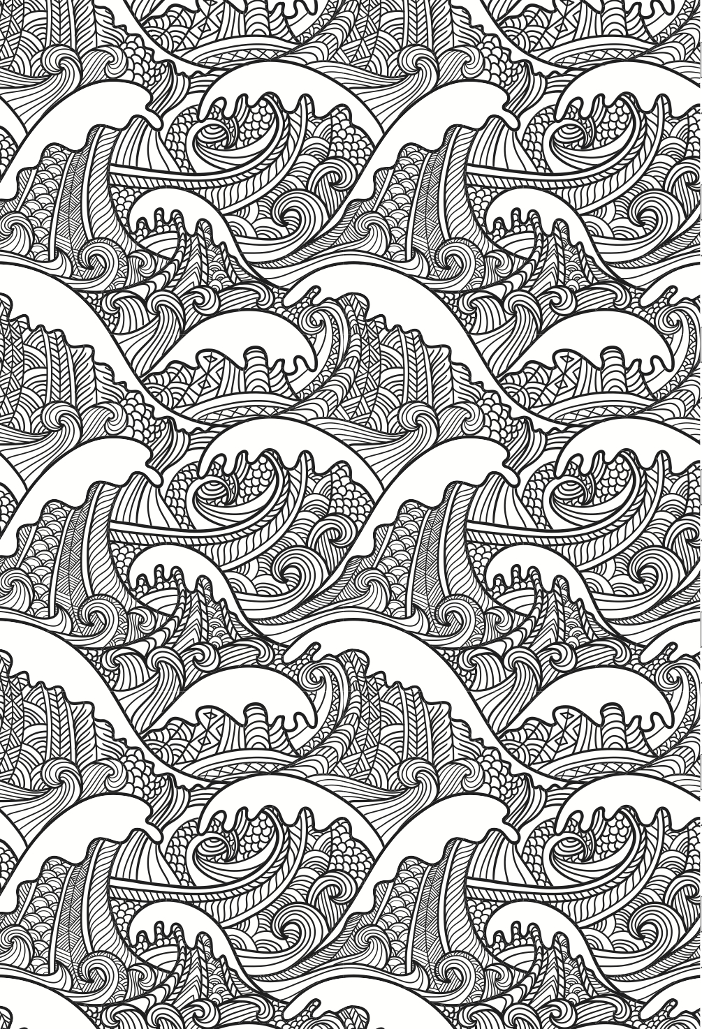 beautiful waves colouring page in an artistic japanese style grown up colouring - Colouring Pages Of Books