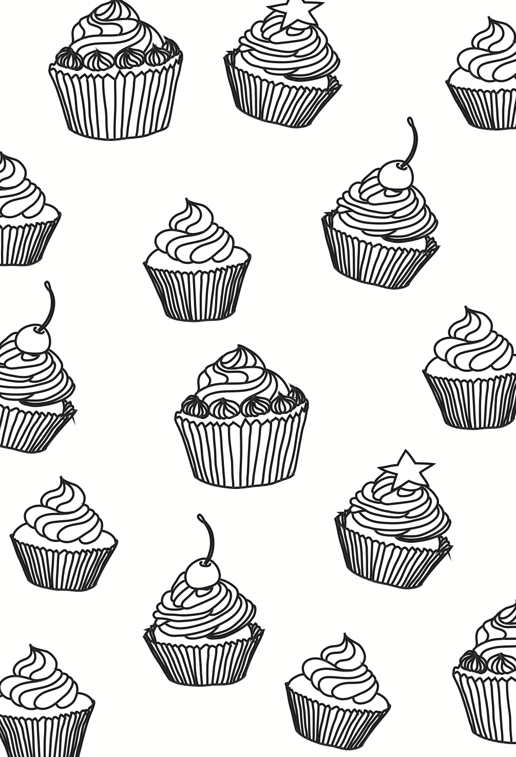 cupcakes colouring page