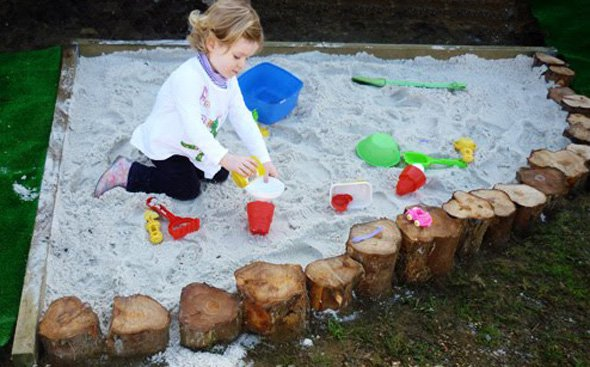 log border diy sand pit