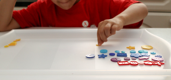 Math sorting with buttons