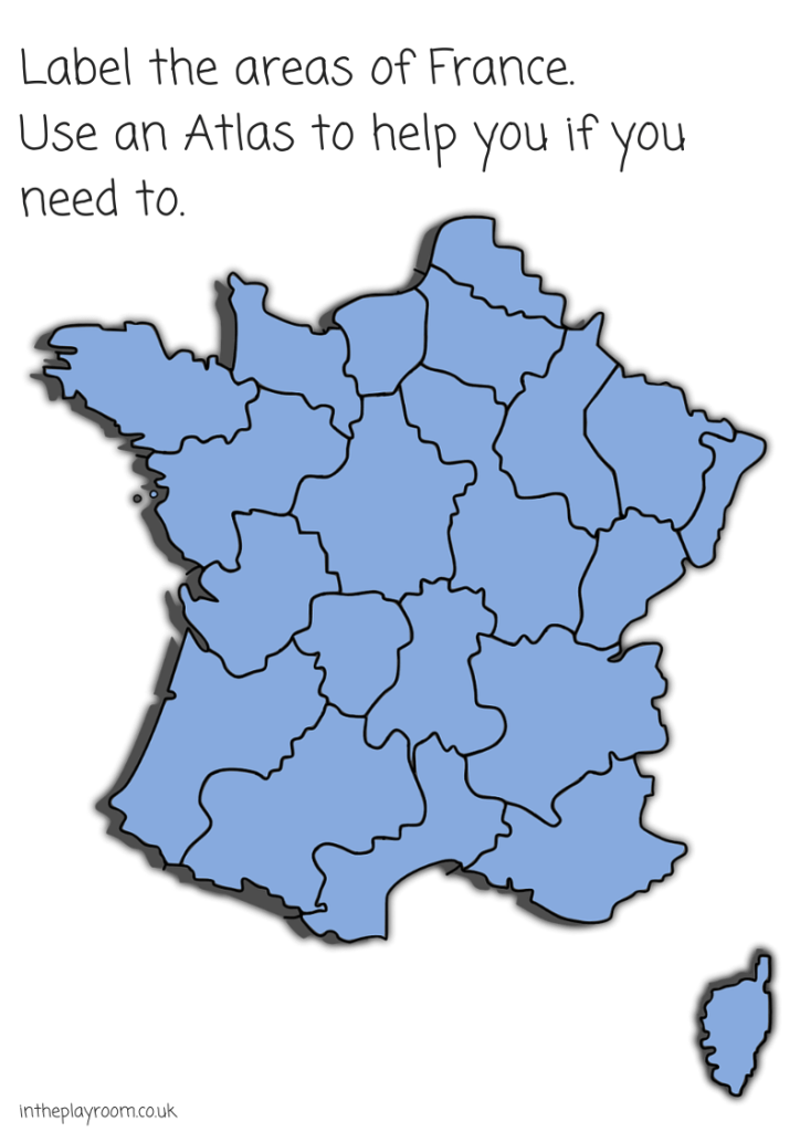 Label the areas of France map. Helping children to use an atlas to recognise and label parts of a country