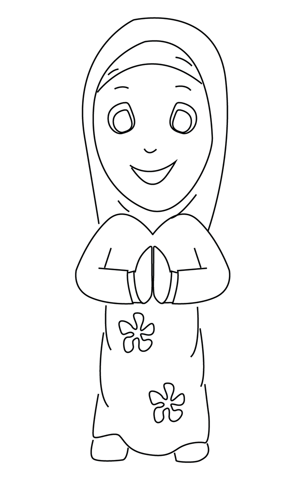 muslim girl colouring page