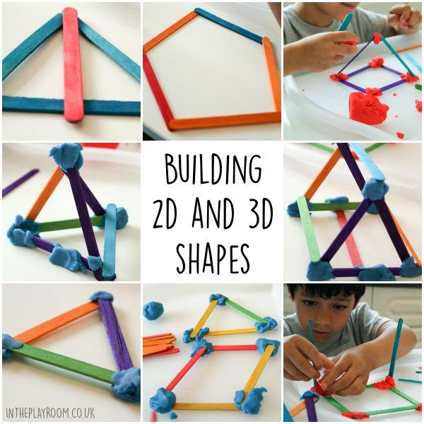 Stem Art Daycare Preschool: Building 2D & 3D Shapes With Craft Sticks