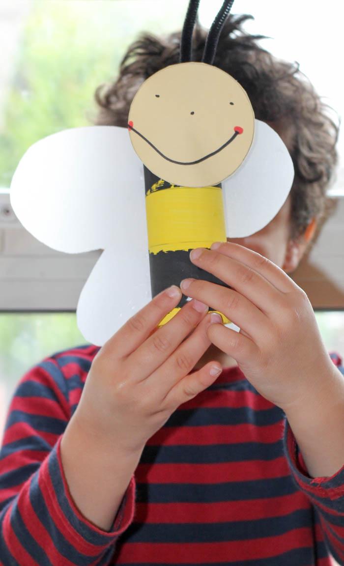 cardboard tube bumble bee craft for kids