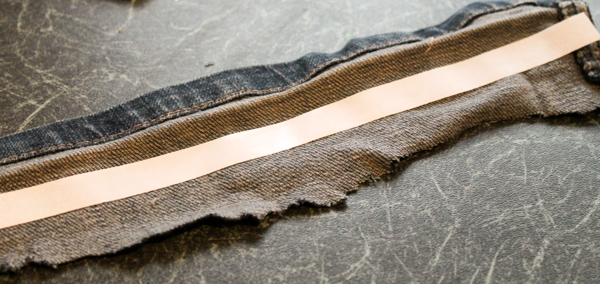 adding double sided tape to denim