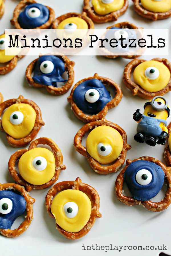 Minion Pretzels. Fun and easy minions themed snack for kids, great for movie nights