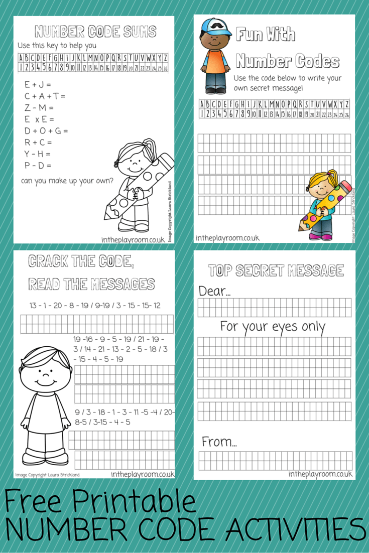 Number code printables, a fun way to practice math skills, and use numbers to send secret messages.
