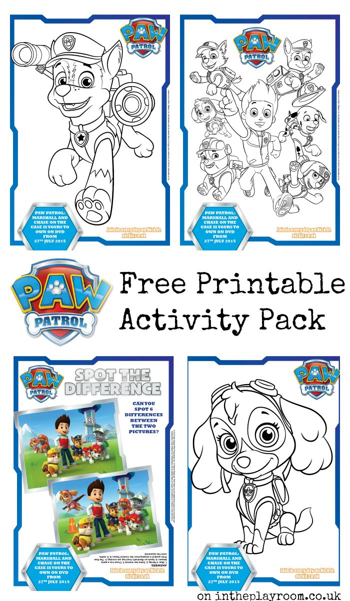 Free printable Paw Patrol colouring pages and activity sheets (spot the difference)