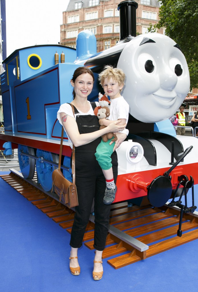 Sophie Ellis Bextor and Son Ray aged 3 arrive at the premiere of Thomas & Friends SodorÕs Legend of the Lost Treasure at Odeon Leicester Square, in London. PRESS ASSOCIATION Photo. Picture date: Sunday July 12, 2015. Celebrating 70 years of Thomas the Tank Engine, SodorÕs Legend of the Lost Treasure introduces a host of new characters voiced by a line up of some of the UKÕs biggest stars including Oscar winning actor Eddie Redmayne, Sir John Hurt, Jamie Campbell Bower and Olivia Coleman, and will be Thomas & Friends biggest theatrical release to date showing in over 400 cinemas across the country this summer.