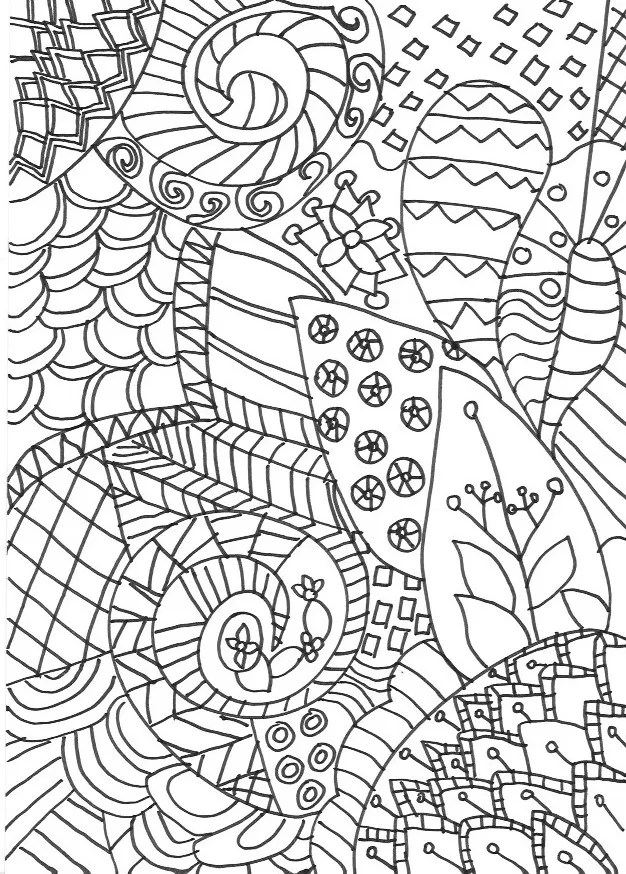 Zentangle colouring page. Detailed grown up colouring page for adults or older children, inspired by the art of zentangle