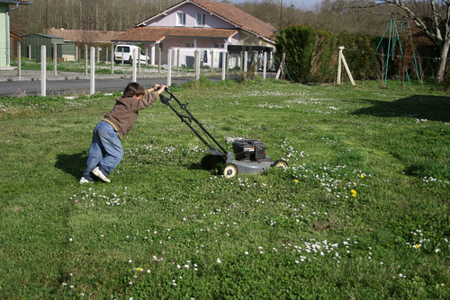 Boy mowing the grass. 7 ways to get kids involved in outdoor chores