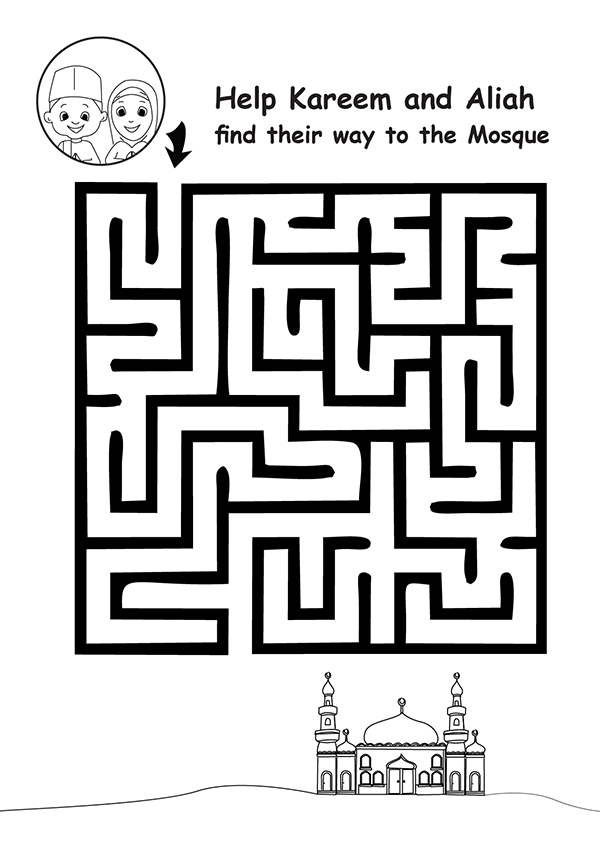 Islamic Maze Printable For Kids In Ramadan Eid Or Any Time Help Kareem
