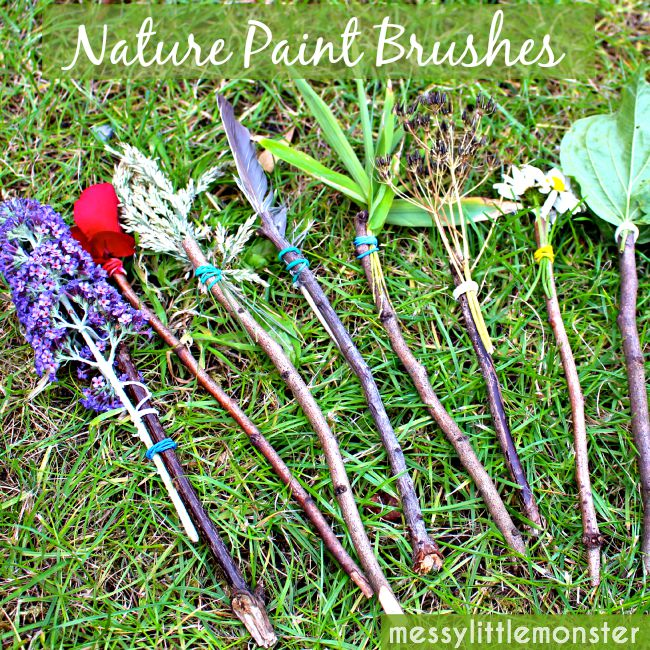 nature paint brushes by messy little monster