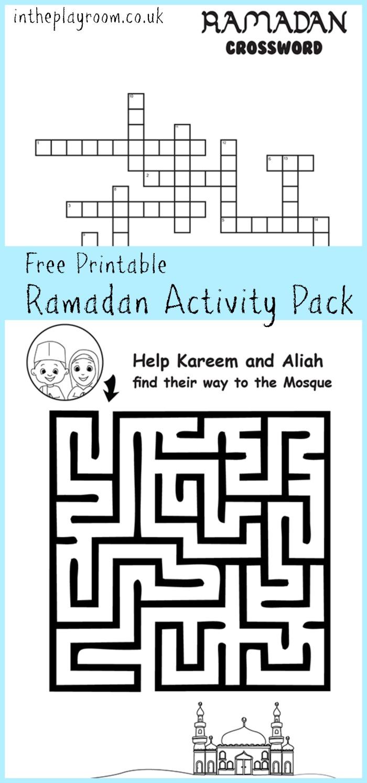 ramadan maze and crossword printable activities in the playroom