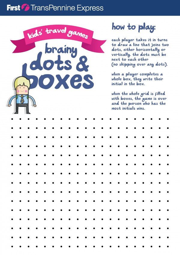 picture about Dots and Boxes Game Printable titled Printable Drive Video games for Young children - Within The Playroom
