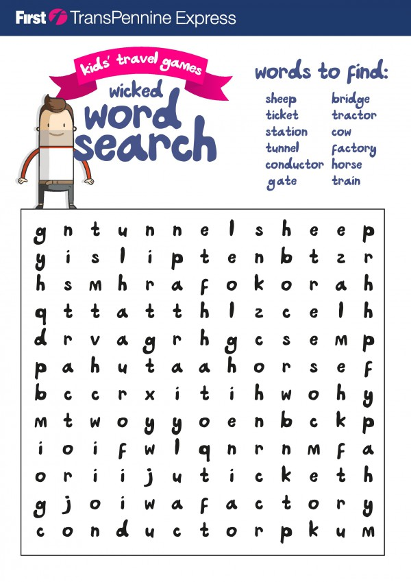 train journey themed wordsearch for kids. Fun free printable