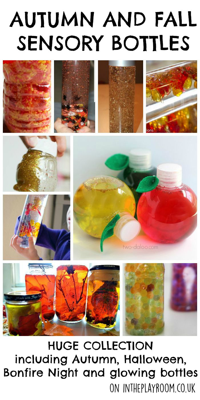 Huge collection of Autumn and fall sensory bottles including autumn and fall colours, apples, leaves, glitter, Halloween, glowing and fireworks and bonfire night discovery bottles
