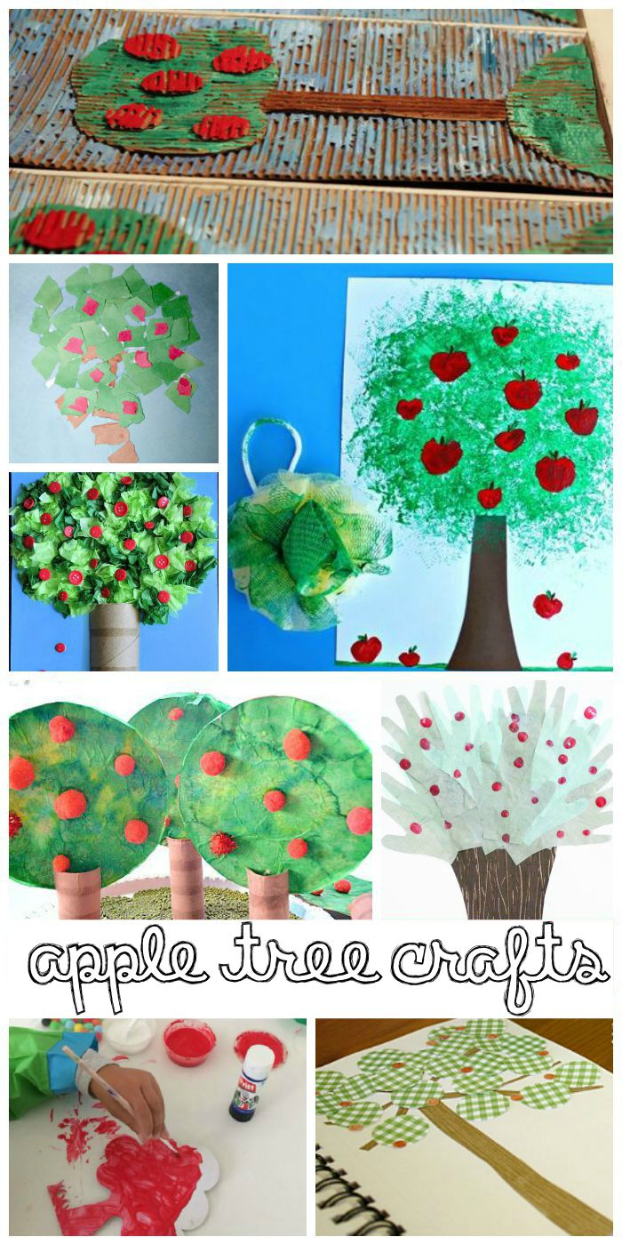 Lots of ideas for apple tree crafts for kids.
