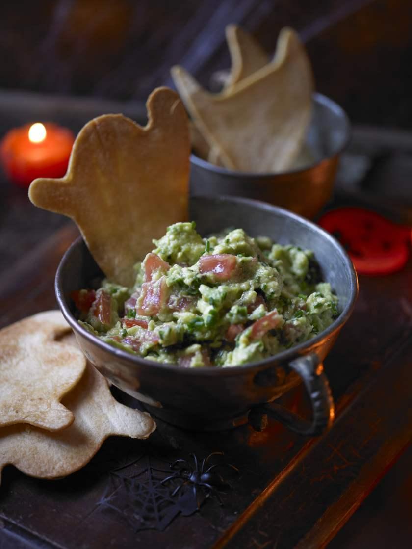 Halloween guacamole recipe with crispy ghost tortillas