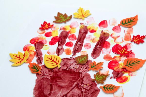 Autumn leaves handprint tree