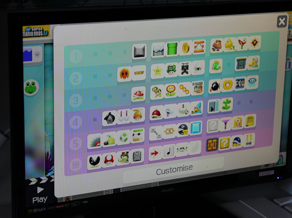 Super Mario Maker on Wii U selecting the game elements