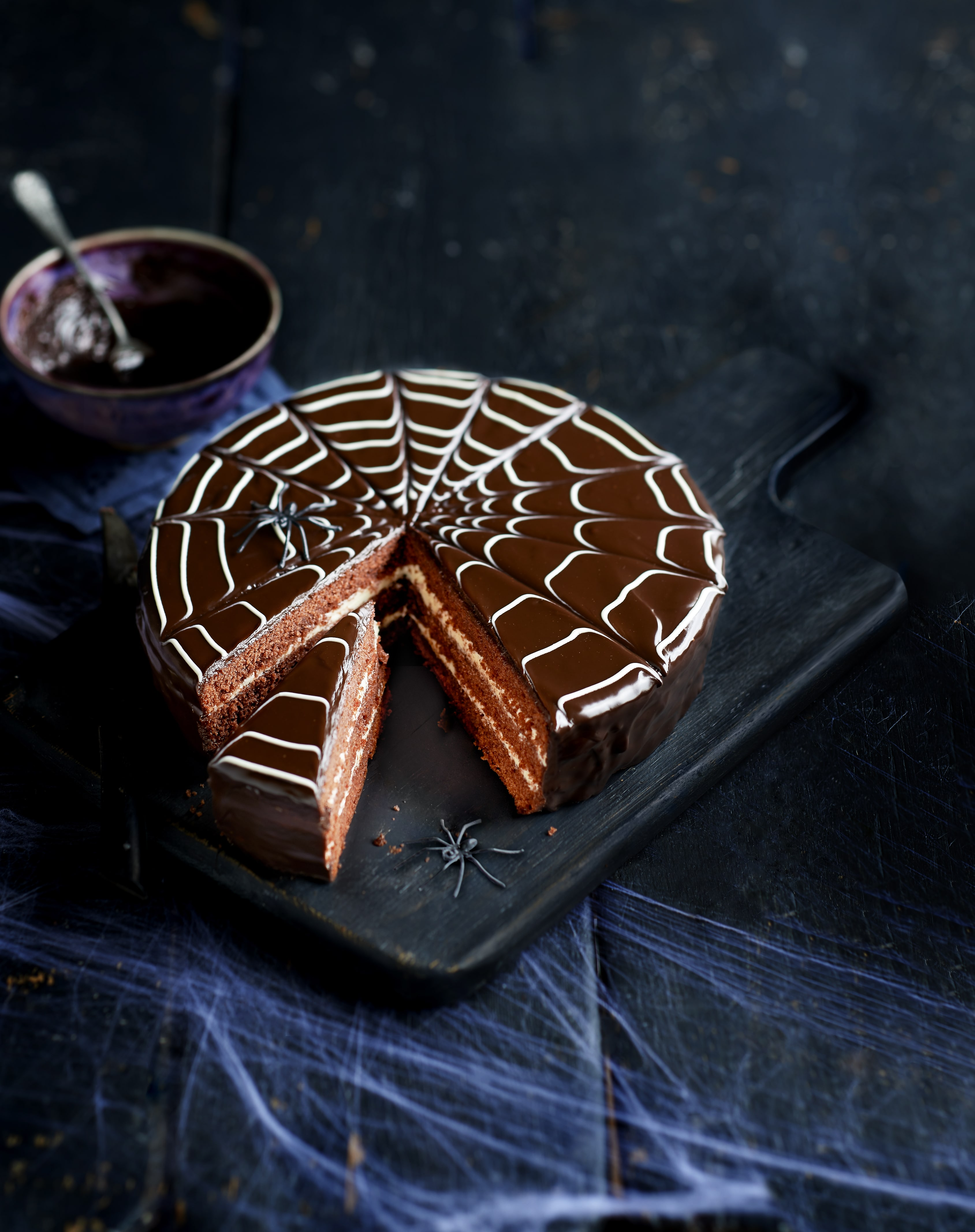 Chocolate spider web cake for Halloween