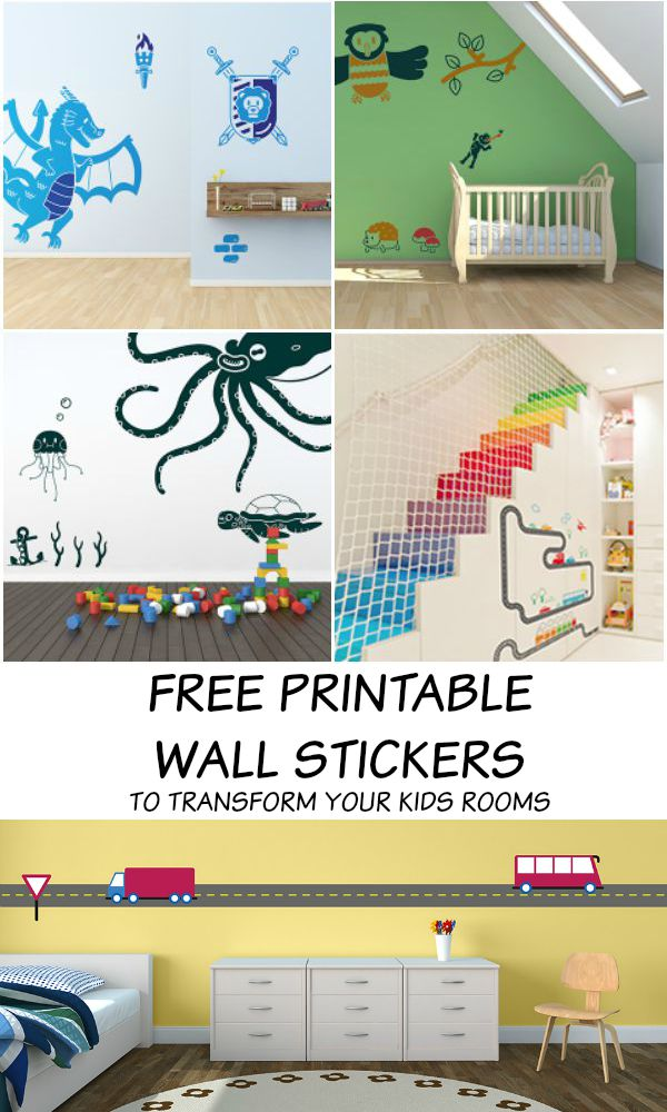 Free printable wall stickers to transform the kids rooms. How cool is this! Knights, under the sea, woodland and transport themes