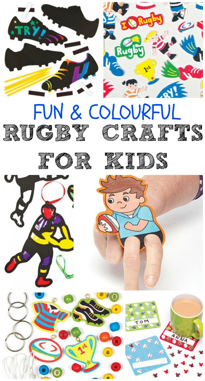 Fun and colourful rugby crafts for kids. Simple and easy craft ideas for sporty kids