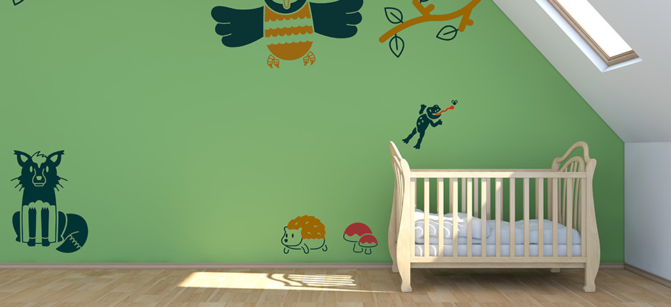 Free printable wall stickers for kids rooms, in a woodland theme
