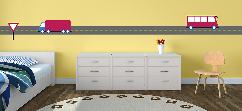 Free printable wall stickers for kids rooms, in a transport theme