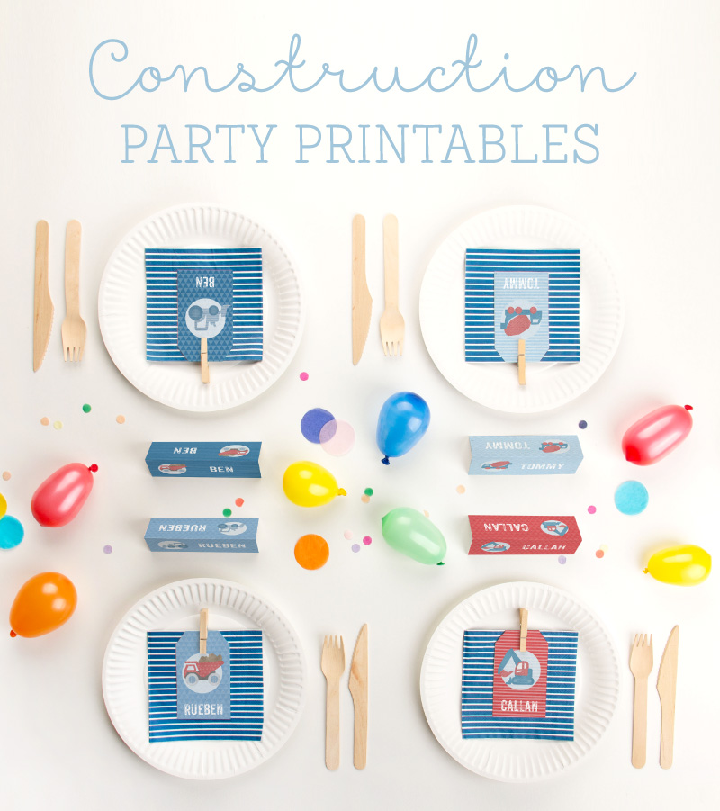 Construction party printables for kids birthday party