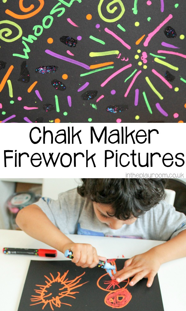 Making fireworks pictures with black paper and chalk markers. Simple fireworks night arts and crafts idea for kids