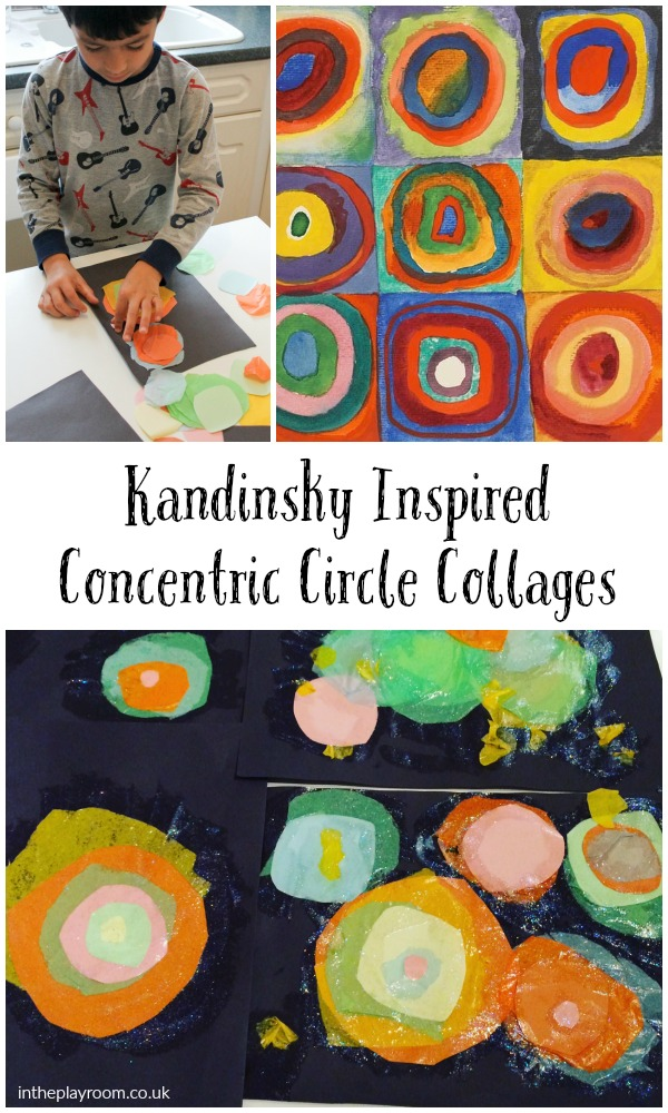 Kandinsky inspired concentric circles collage, easy abstract art project for kids