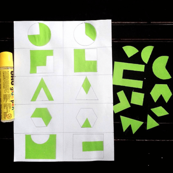 Let's glue and stick the missing shapes. Simple educational idea for kids to learn about 2d shapes
