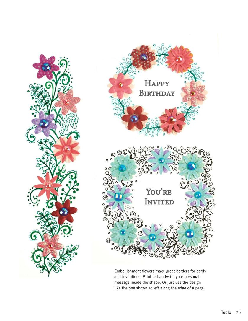 Make DIY invitations from zentangle doodles and 3D flowers