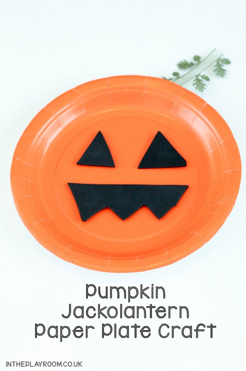 Paper plate pumpkin toddler craft for Halloween