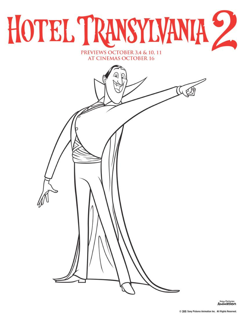 Hotel transylvania 2 colouring pages count dracula vampire colouring sheet, perfect for Halloween