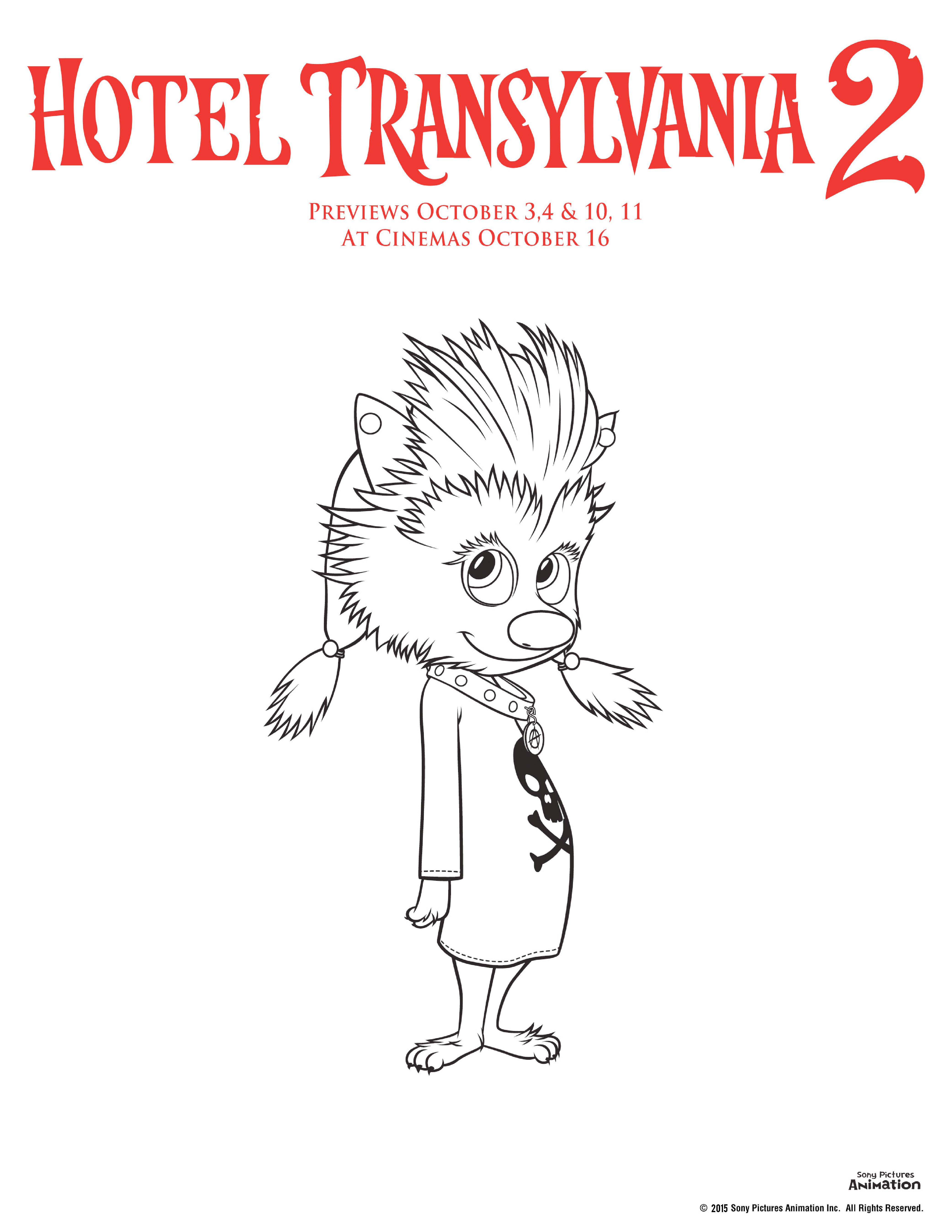 Hotel transylvania 2 colouring pages winnie the wolf pup colouring sheet, perfect for Halloween