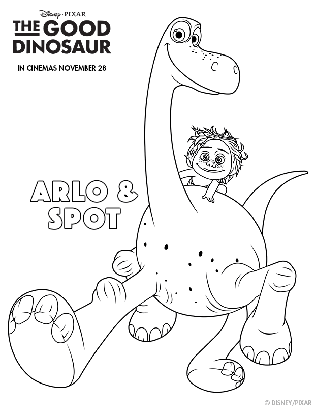 The Good Dinosaur Arlo and Spot Colouring page