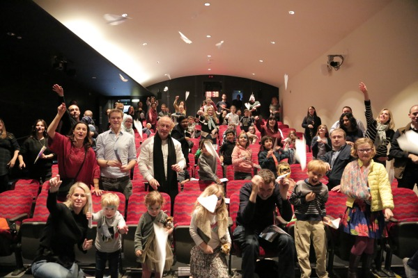 launching paper planes at the Paper planes movie gala screening