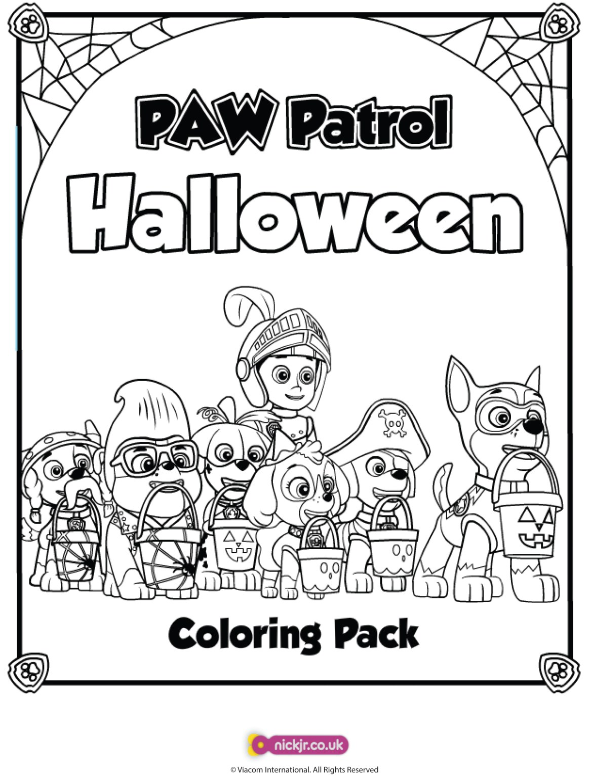 Paw Patrol Halloween colouring page