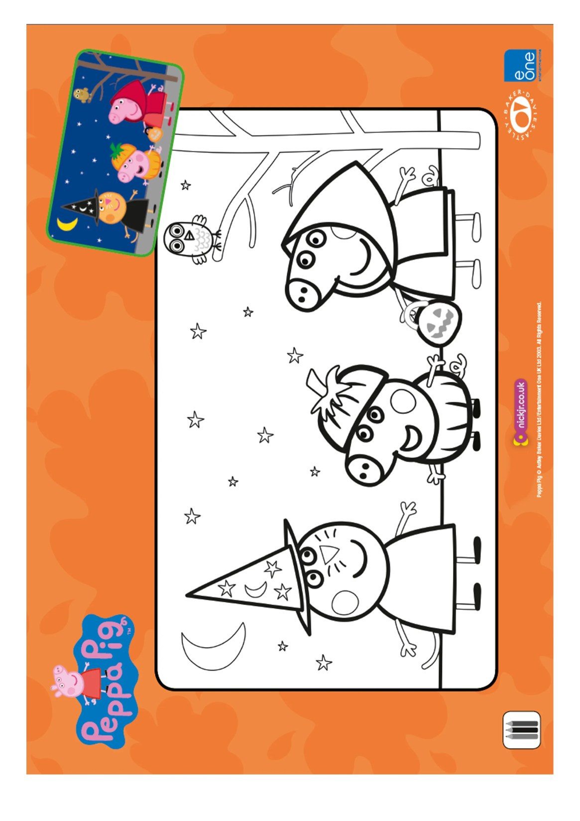 Peppa Pig Halloween colouring page