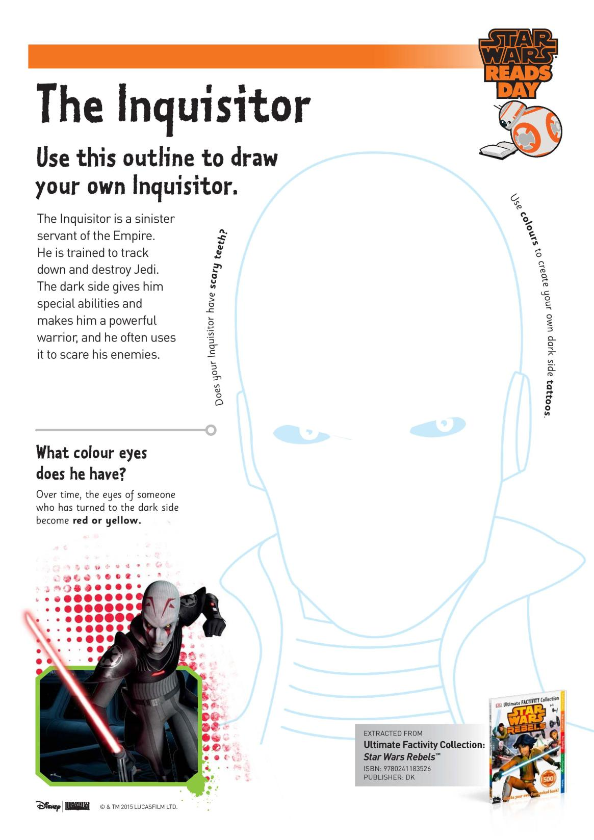 Draw your own Inquisitor Star Wars themed Printable drawing prompt for kids