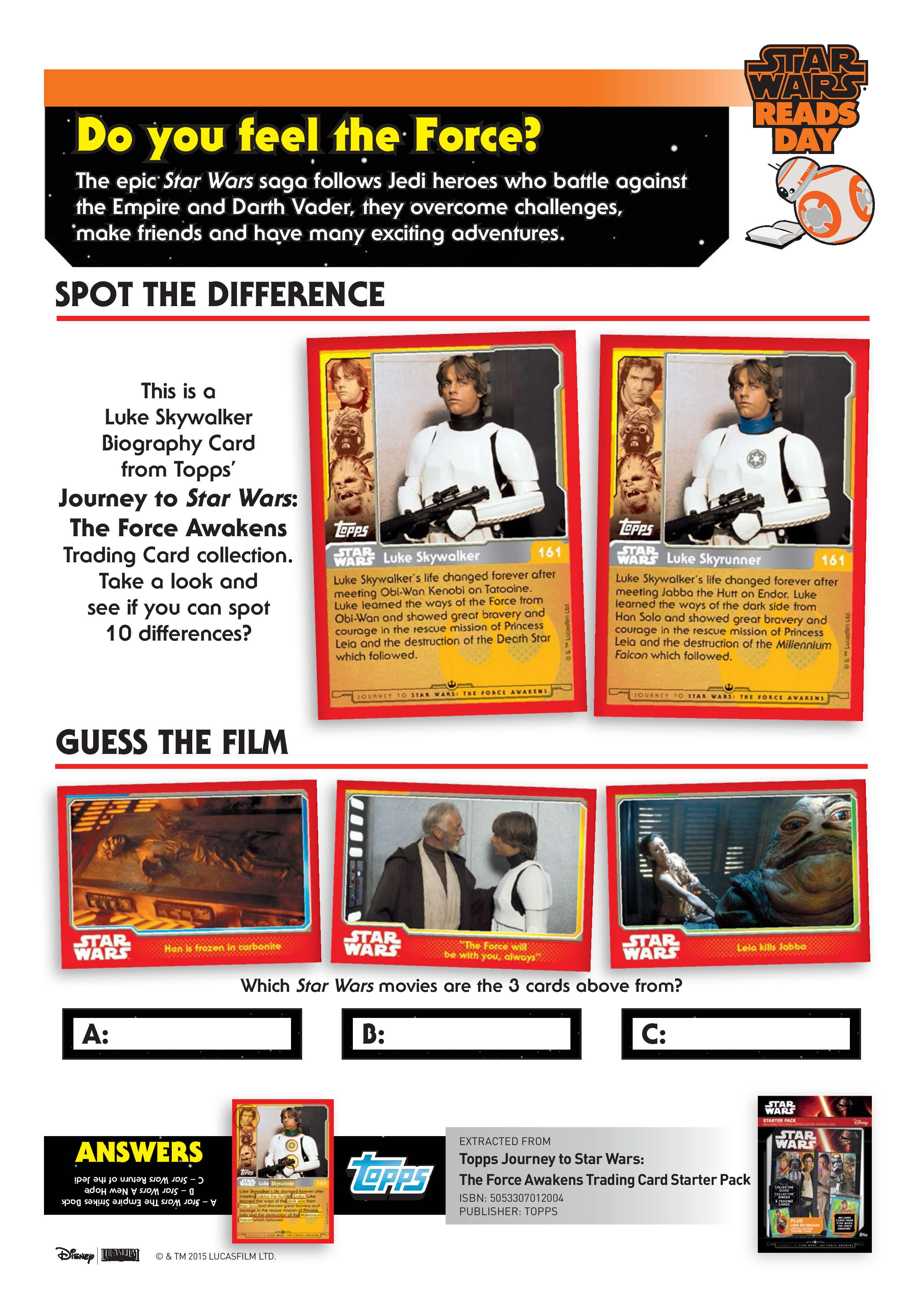 Star Wars Spot the Difference and Guess the Film Quizzes