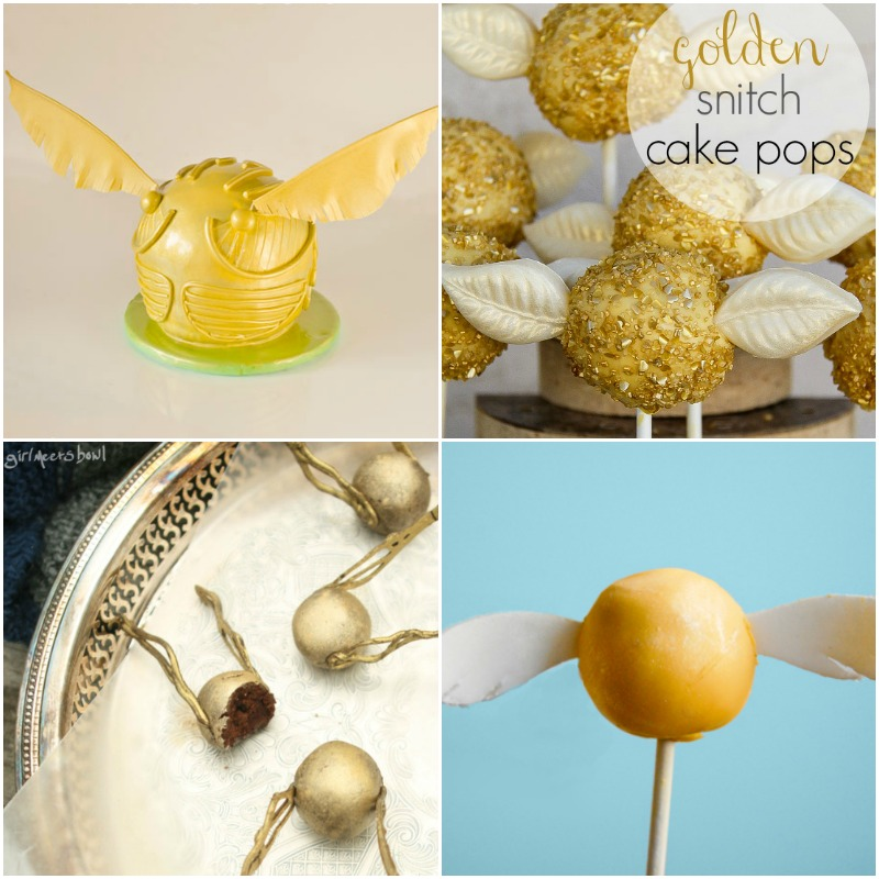 Harry Potter golden snitch cakes and cake pops for Harry Potter party