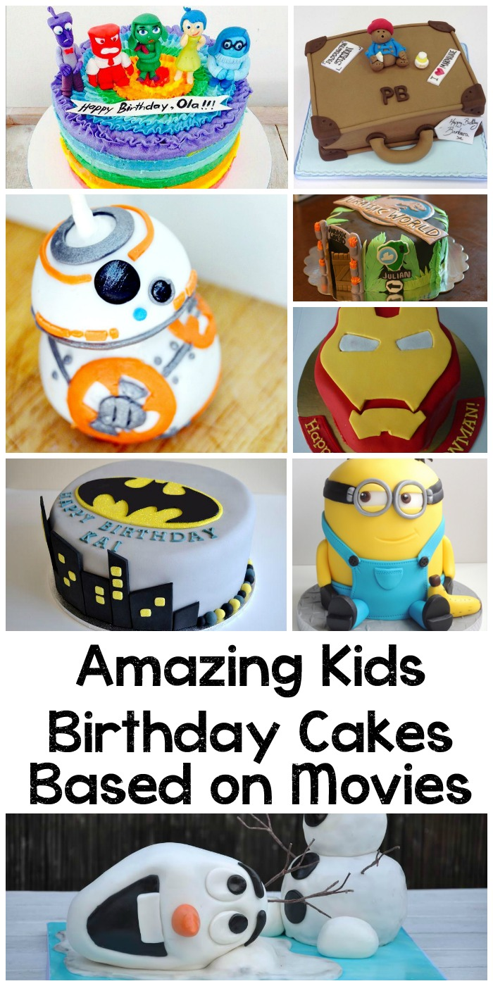 Amazing kids birthday cakes based on movie characters including frozen, inside out, iron man, paddington, batman, minions and more. Great ideas here!