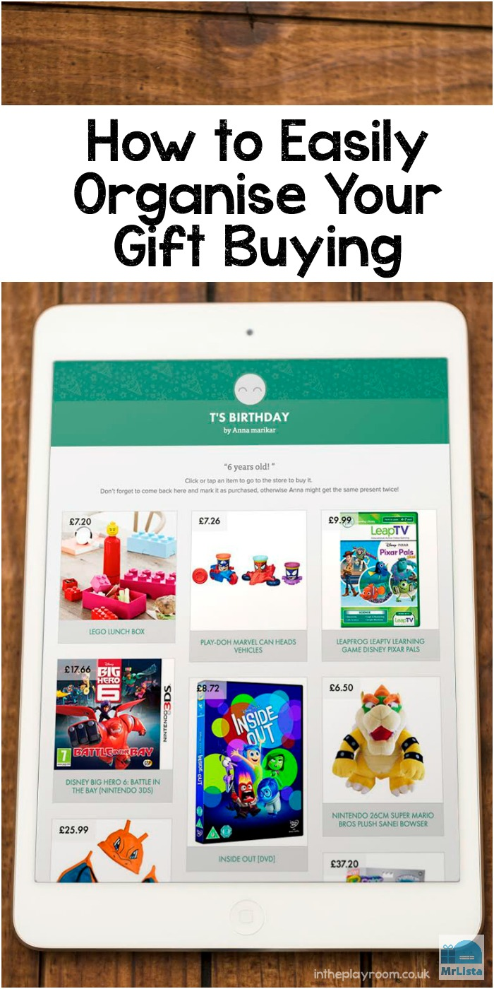 How to easily organise your gift buying. MrLista is a great way to make and share wishlists